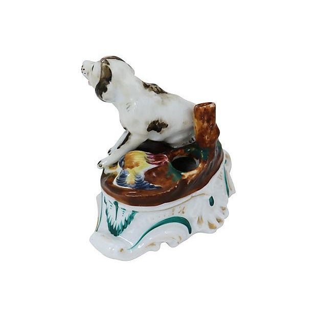 Cottage Early 19th-C. English Porcelain Dog Inkwell For Sale - Image 3 of 5