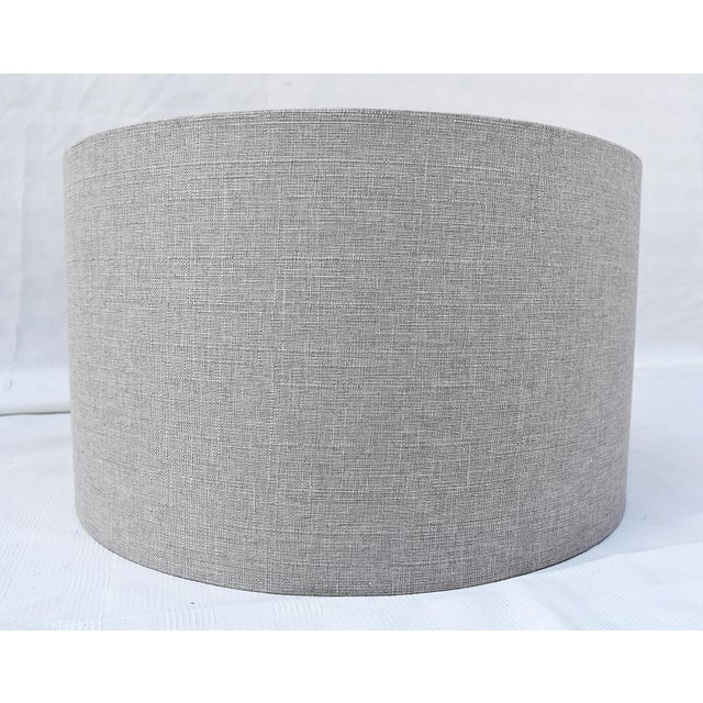 Grey Linen Drum Shade For Sale - Image 4 of 4