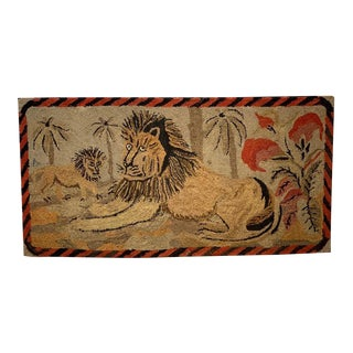 American Folk Art Ross Pattern Hooked Rug For Sale