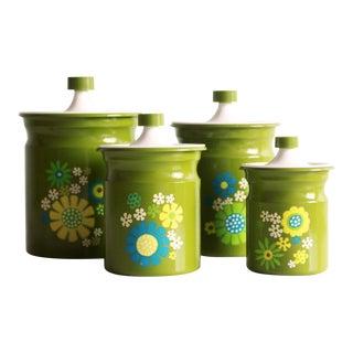 Vintage 1970s Flower Power Green Kitchen Canister - Set of 4 For Sale