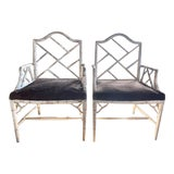 Image of Pair, Mid Century Chinese Chippendale Faux Bamboo Fretwork Arm Chairs For Sale