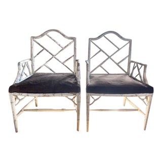 Pair, Mid Century Chinese Chippendale Faux Bamboo Fretwork Arm Chairs For Sale