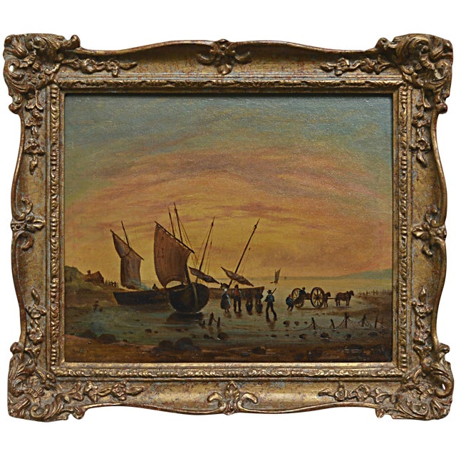 Continental School Painting, Sailing Ships at Shore For Sale