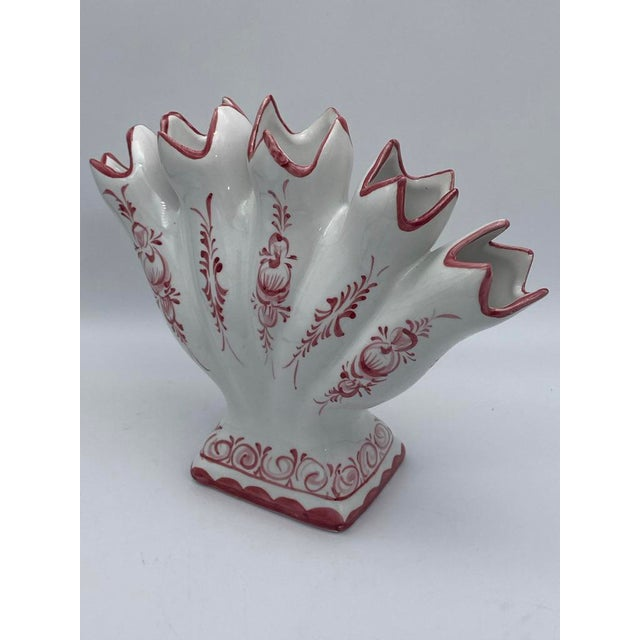 Faience Tulipiere Fan Bud Vase and Candle Holder From Portugal For Sale - Image 4 of 11
