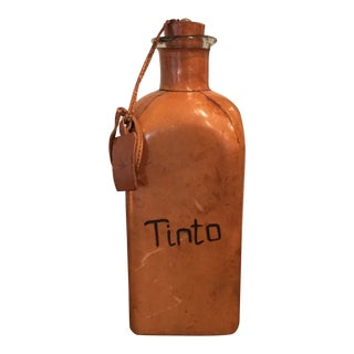Vintage Leather & Glass Bottle Decanter Tinto For Sale