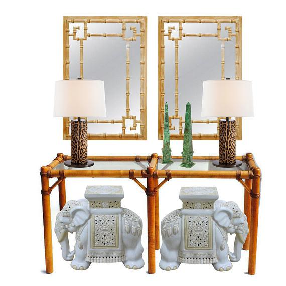 "Boho Chic Vintage Safari Campaign Sofa Table Console Table Smokey Glass - 50"" For Sale - Image 3 of 11"