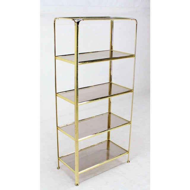 Mid-Century Modern Mid Century Modern Five Tier Brass and Smoked Glass Etagere Shelving Unit For Sale - Image 3 of 10