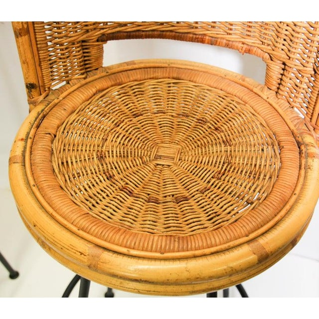 Vintage 1960s Swivel Woven Rattan Bar Stools - a Pair For Sale - Image 9 of 13