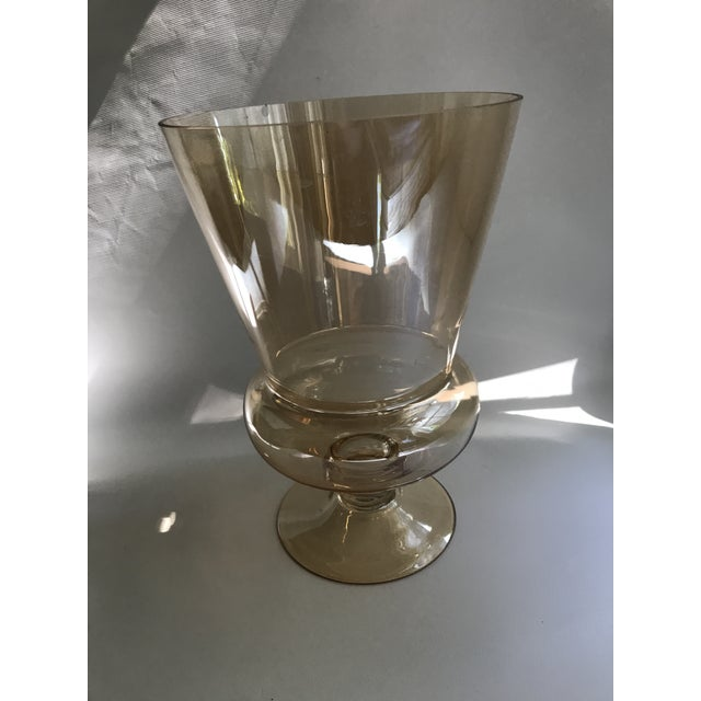 Art Deco Large Footed Amber Glass Vase For Sale - Image 3 of 7