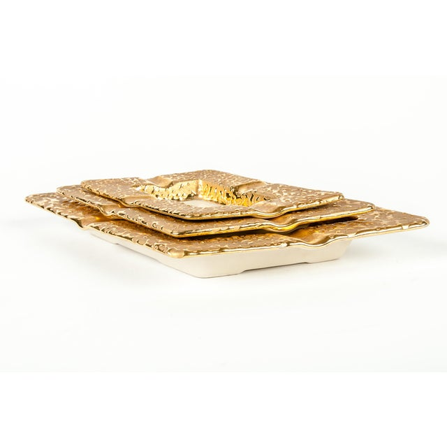 Contemporary Porcelain Hand Decorated 22-Karat Gold Ashtray Set of 3 For Sale - Image 3 of 6