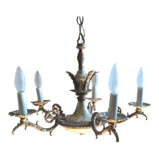 Neoclassical Five Light Brass Acanthus Leaf Chandelier