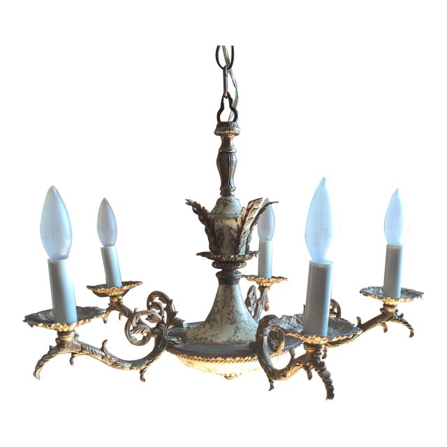 Neoclassical five light brass acanthus leaf chandelier chairish neoclassical five light brass acanthus leaf chandelier for sale aloadofball Choice Image