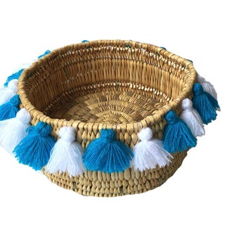 Moroccan White and Turquoise Tassel Small Basket For Sale