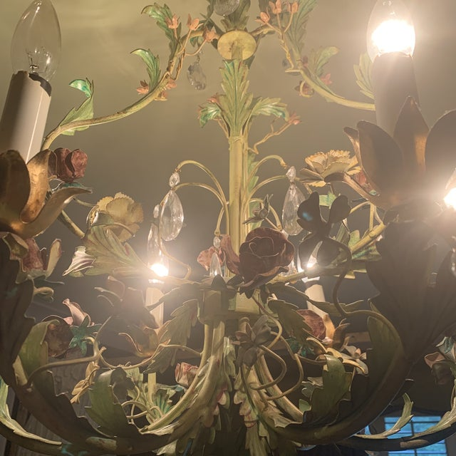 1990s Green Iron Floral Chandelier For Sale - Image 5 of 13