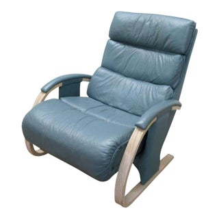 Modern Ekornes Style Reclining Leather Chair For Sale