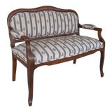 """Image of Antique Walnut Frame 19th Century Victorian Period Settee Bench 47""""w For Sale"""