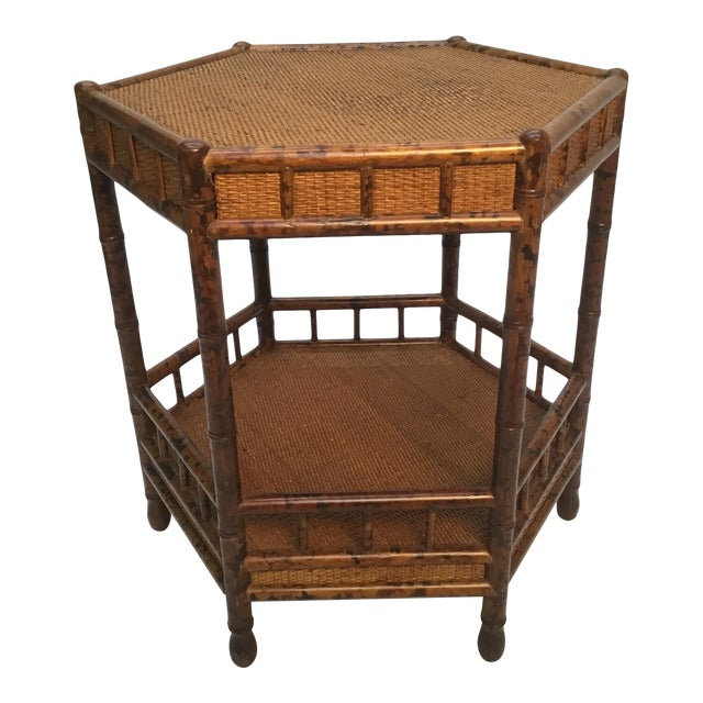 1960s Asian Bamboo Hexagonal Occasional Table For Sale