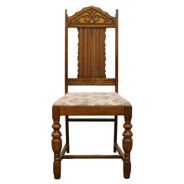 1920's Antique Vintage Gothic Revival Jacobean Dining Side Chair For Sale - Image 9 of 9