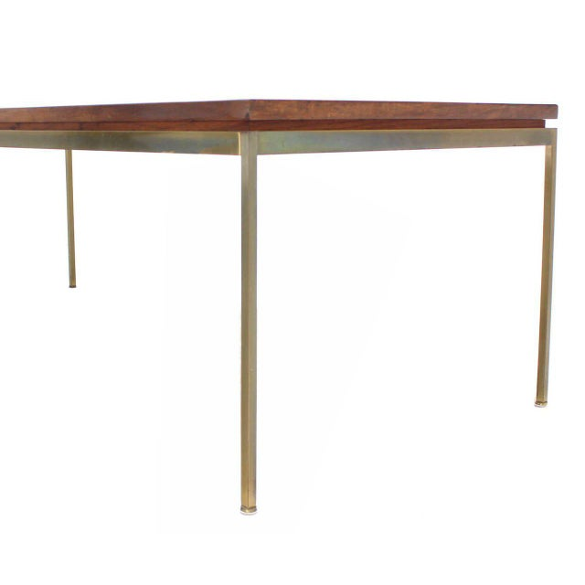 Larger mid century modern brass base coffee table.