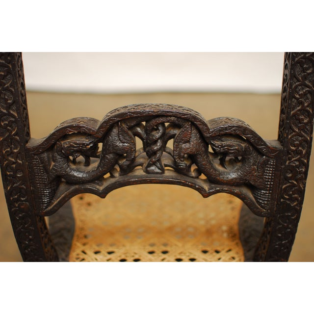Anglo Indian Carved Rosewood Desk Chair - Image 6 of 7