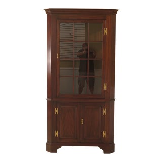 1990s Vintage Henkel Harris 12 Pane Mahogany Large Corner Cabinet For Sale