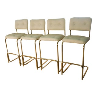 Mid Century Milo Baughman Style Cantilever Upholstered Bar Stools For Sale