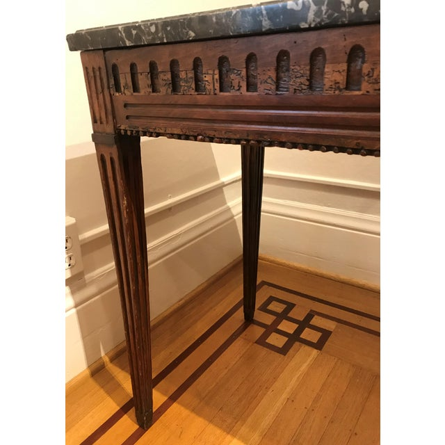 18th Century Fruit Wood Marble Top Console Table For Sale - Image 4 of 6