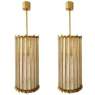 Italian Brass Crystal Murano Glass Customizable Pendant / Chandelier For Sale