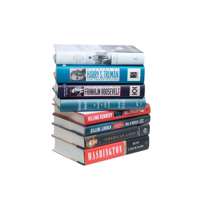 A set of eight hardcover books with dust jackets on the Presidents of the United States of America. Titles include;...