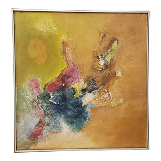 """Classic 70's Abstract Oil Painting """"Old Roses and the Sun"""" by David Pierson C.1971 For Sale"""