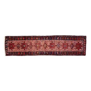 Jacobean Style Vintage Persian Heriz Runner, Pink Hallway Runner - 2'4 X 9'9 For Sale