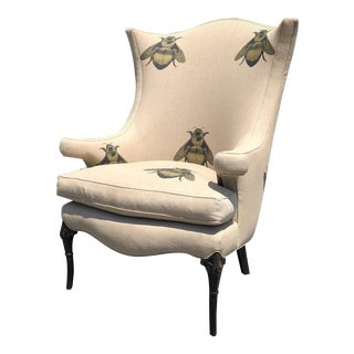 """Timorous Beasties """"Napoleon Bee"""" Antique Wing Chair For Sale"""