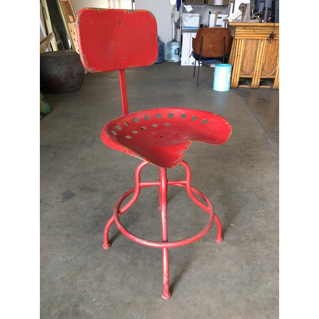 Rustic Industrial Steel and Iron Tractor Work Stool For Sale In Los Angeles - Image 6 of 8