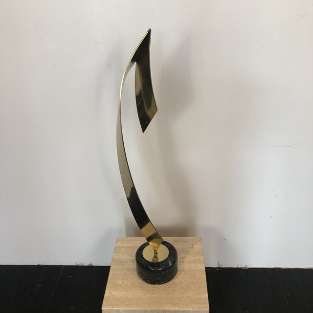 Curtis Jere C. Jere Brass Marble Ribbon Sculpture For Sale - Image 4 of 13