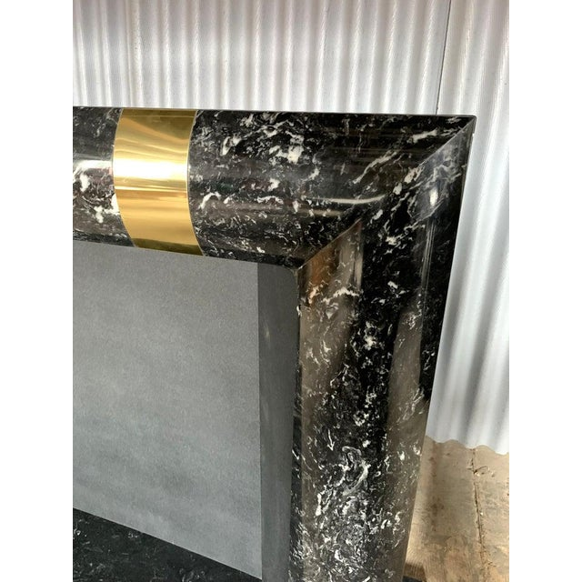 1980s 1980s Brass Marble and Composite Fireplace For Sale - Image 5 of 11