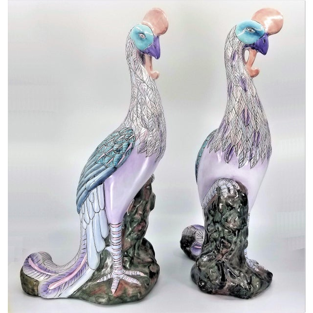 1970s Extra-Large Chinese Porcelain Ceramic Phoenix Bird Sculptures or Figurines - a Pair For Sale - Image 5 of 13