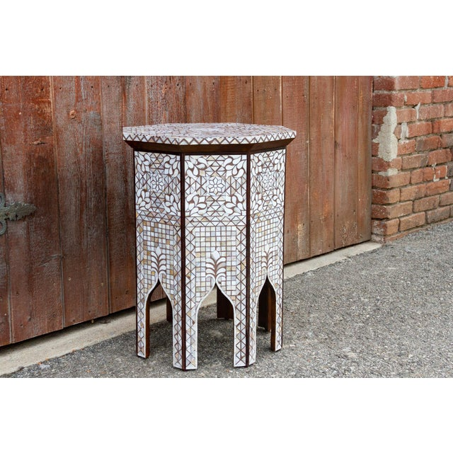 Early 20th Century Syrian Mother of Pearl Inlaid Table For Sale - Image 5 of 10