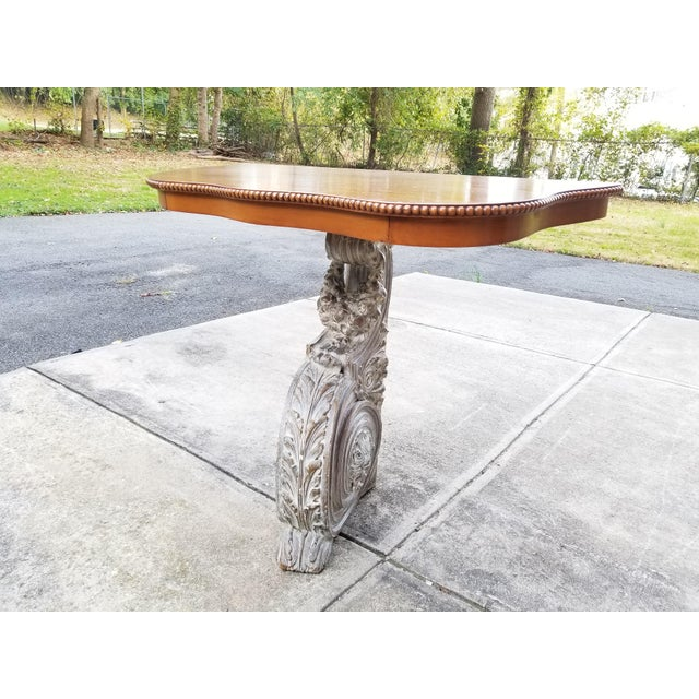 Art Nouveau Antique French Carved Wood & Mahagony Console Table For Sale - Image 3 of 10