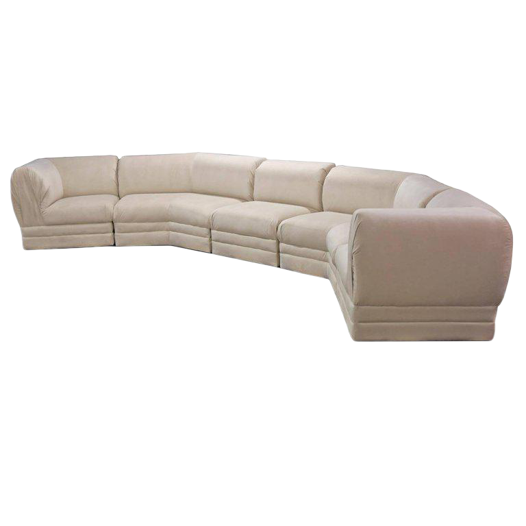 Thayer Coggin Ivory White Sectional Sofa Milo Baughman Restored