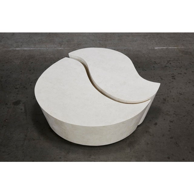 """Maitland - Smith 1990s Contemporary Freeform White Stone Two Part """"Hampton"""" Coffee Table For Sale - Image 4 of 13"""