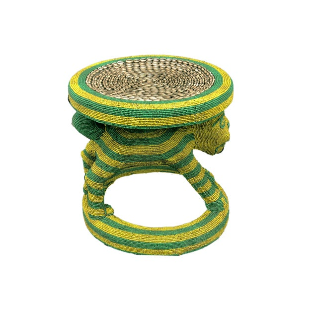 """Lg African Beaded Wood Bamileke Stool /Table Cameroon 18.5"""" H For Sale - Image 4 of 11"""
