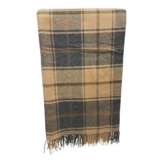 Merino Wool Throw Light Soft Beige Grey Green Red Plaid - Made in England For Sale