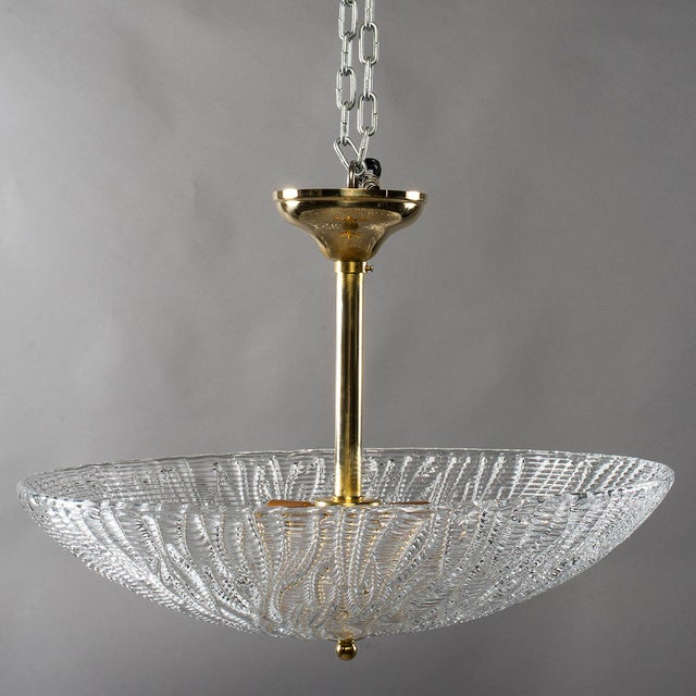 Barovier & Toso Barovier and Toso Umbrella Form Fixture With Brass Fittings For Sale - Image 4 of 8