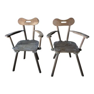 Vintage Handcrafted Alpine Armchairs - a Pair For Sale
