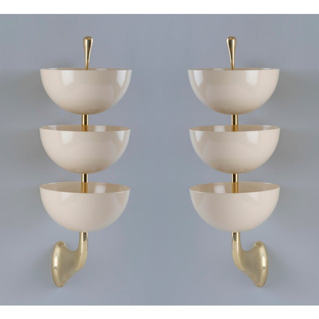 Art Deco 1950s Mid-Century Modern Stilnovo Tiered White Enamel and Polished Brass Sconces - a Pair For Sale - Image 3 of 8