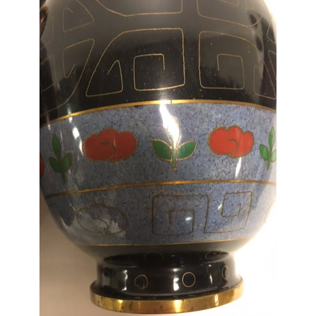Vintage Asian Cloisonne Vases - A Pair For Sale - Image 4 of 8