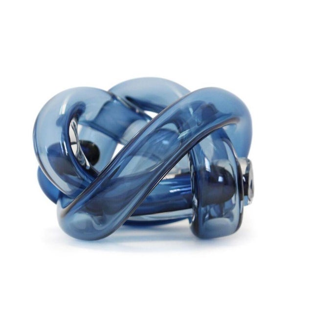 Abstract SkLO Wrap Object Glass Knot - Steel Blue For Sale - Image 3 of 3
