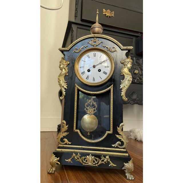 Antique Mid 19th Century French Mantel Clock With Case For Sale - Image 10 of 11