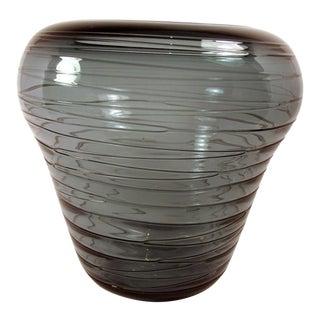 Hand Blown Smokey Green Glass Shoulder Vase