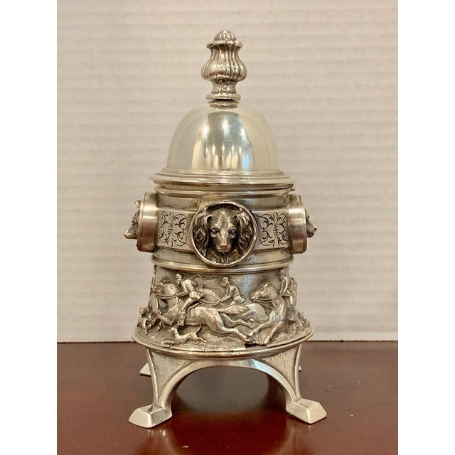 Traditional Antique English Silver Plated Equestrian Inkwell, With Dogs & Foxes For Sale - Image 3 of 13